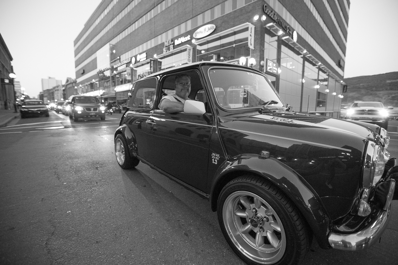 A right hand drive classic mini cooper on a summers eve - Water Street at Ayers Cove road