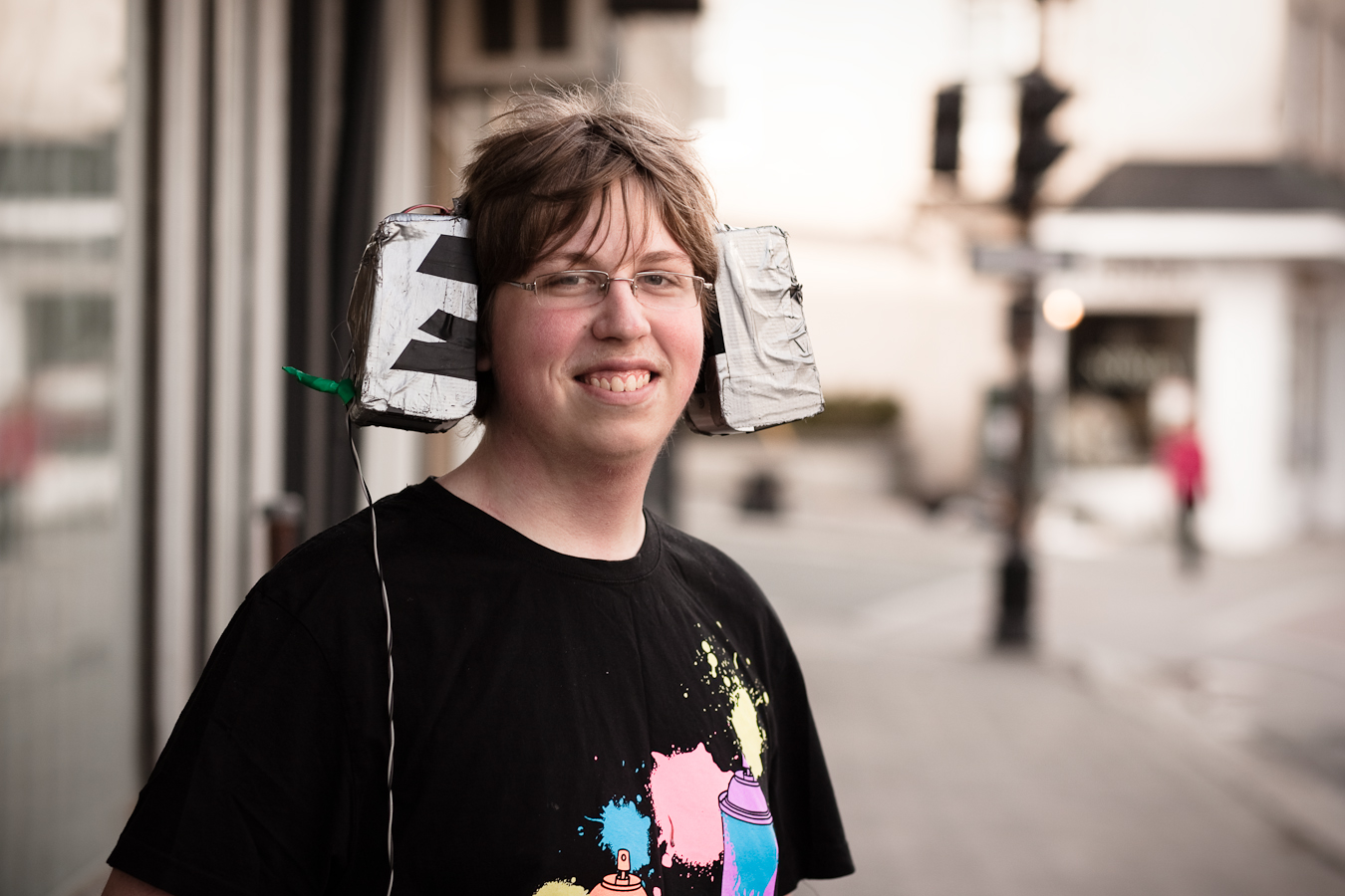 Awesome kid with homemade headphones - Water Street
