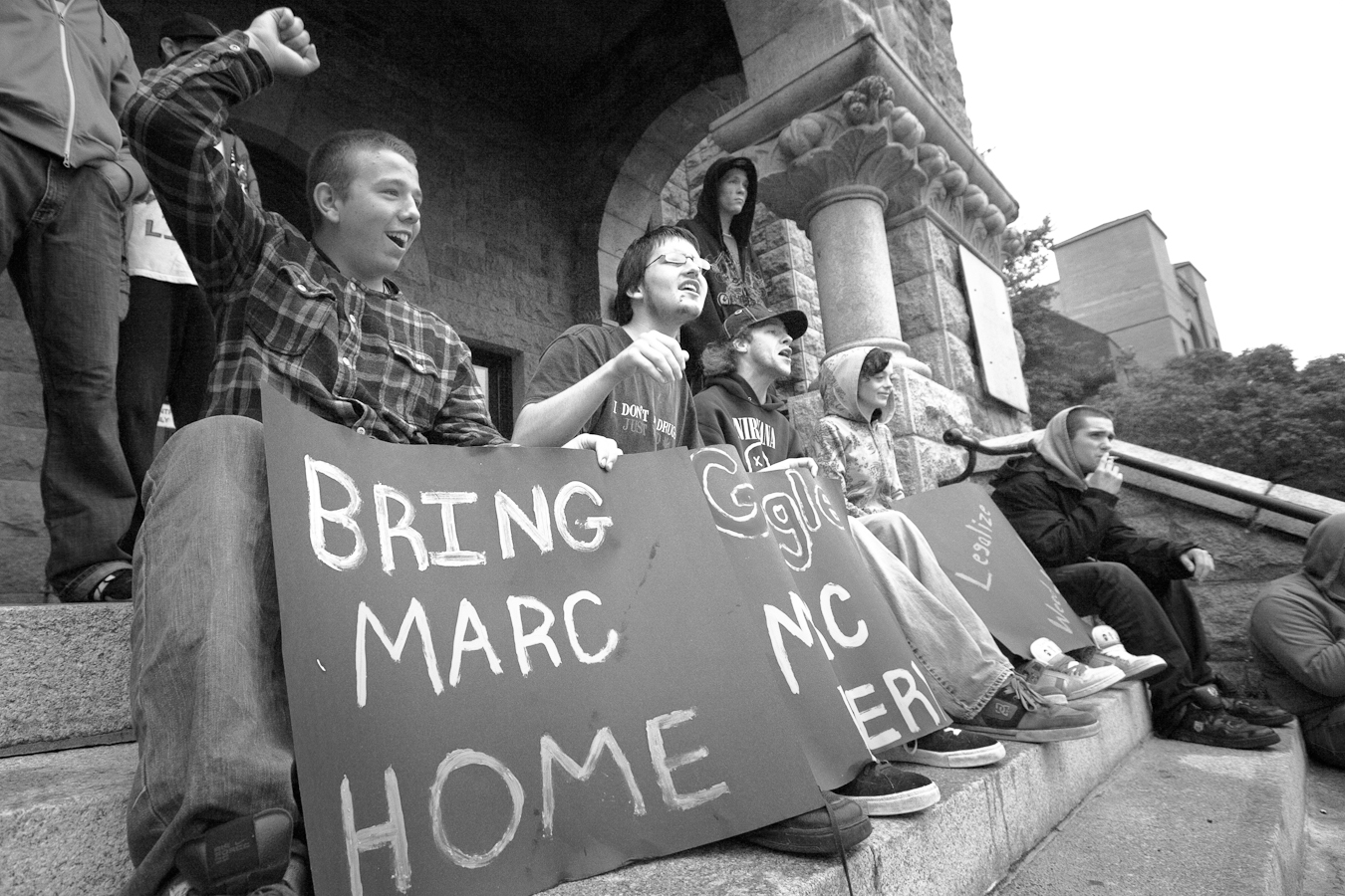 A group protests the inprisonment of Marc Emery - Courthouse Steps - Water Street