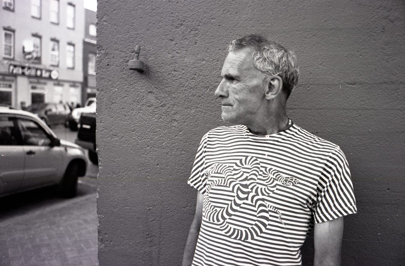 Donniie Dunne and his psychedelic Tee - Summer 2014 - Water Street - Blue on water
