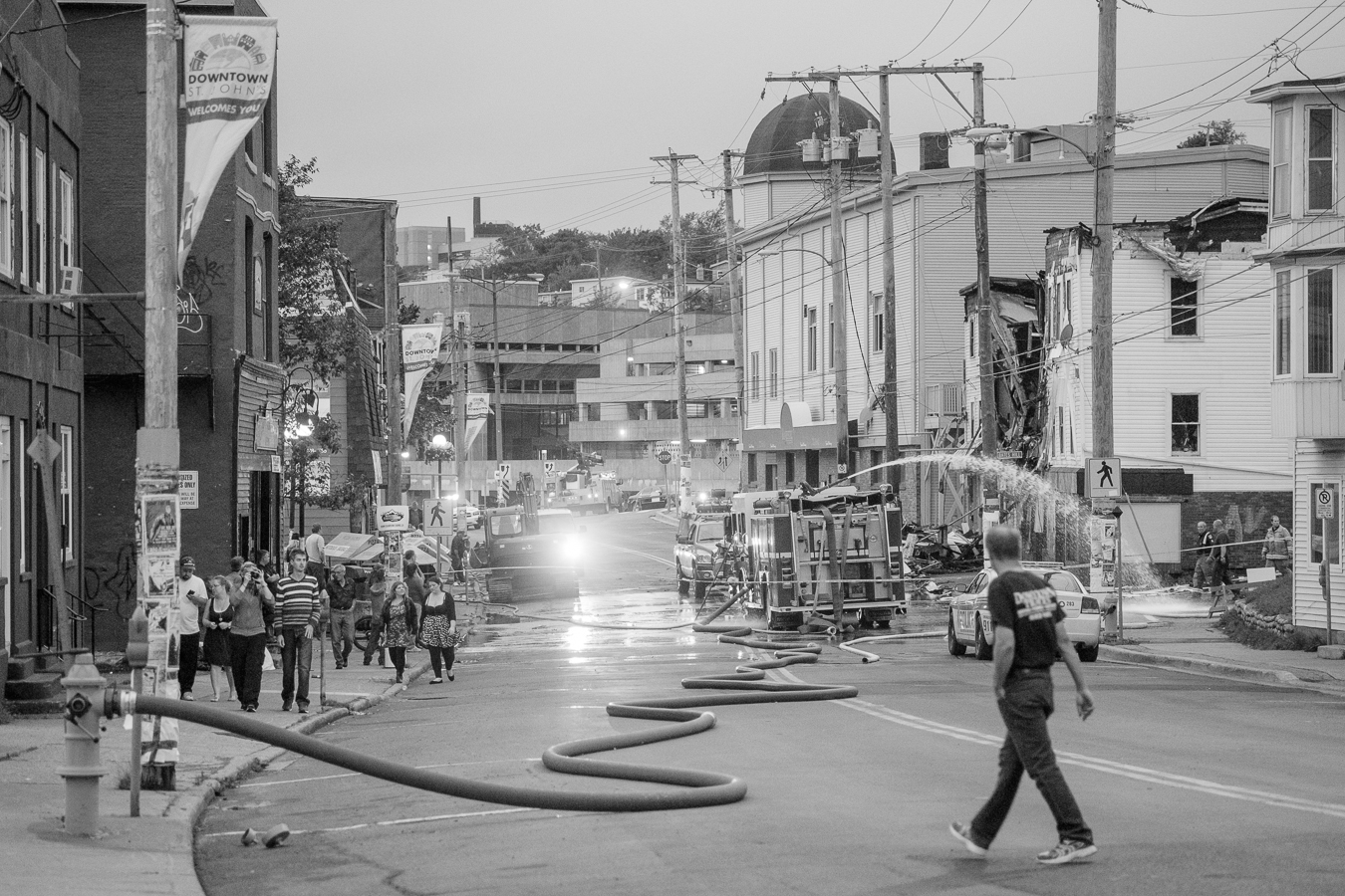 Firefighters and onlookers at the scene of another lost block of Downtown - Sept 2013 - Duckworth Street