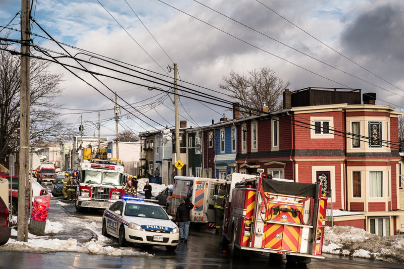 Emergency response for a fire in a basement apartment - Cabot Street