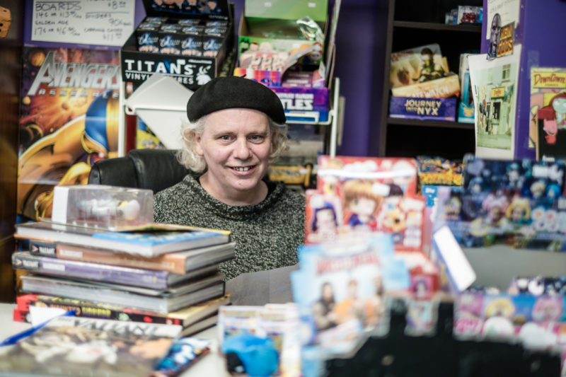 Wallace In His Natural Environment on new comic book day - Downtown Comics - Duckworth street
