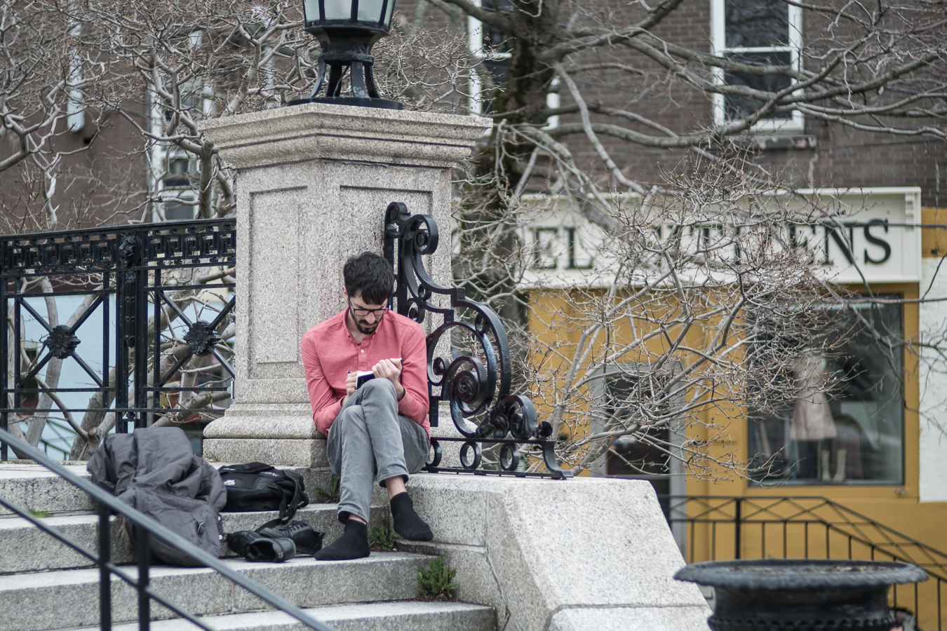 Getting comfortable to write - War Memorial - Duckworth Street