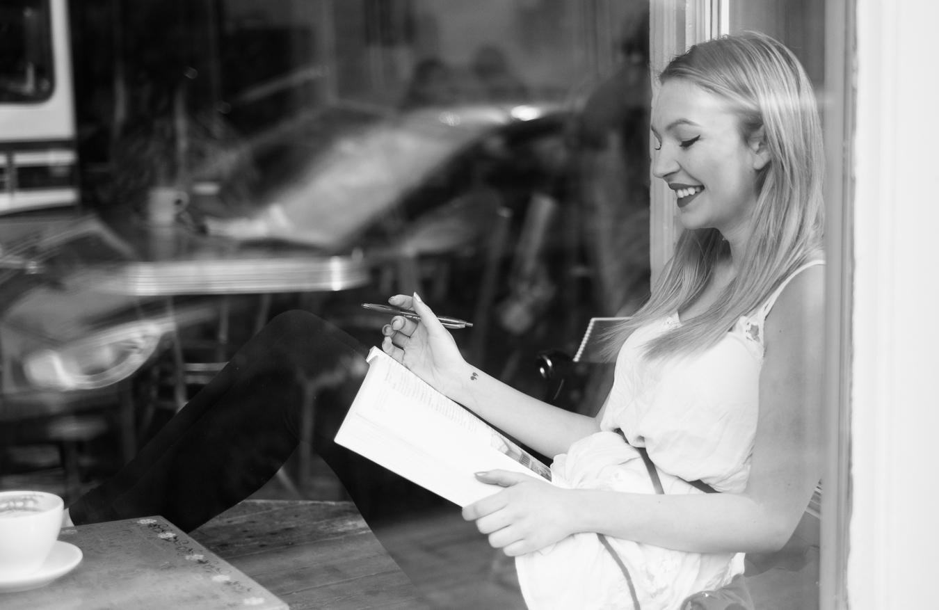 Anon lady working away in the window seat - Rocket Bakery - Water Street