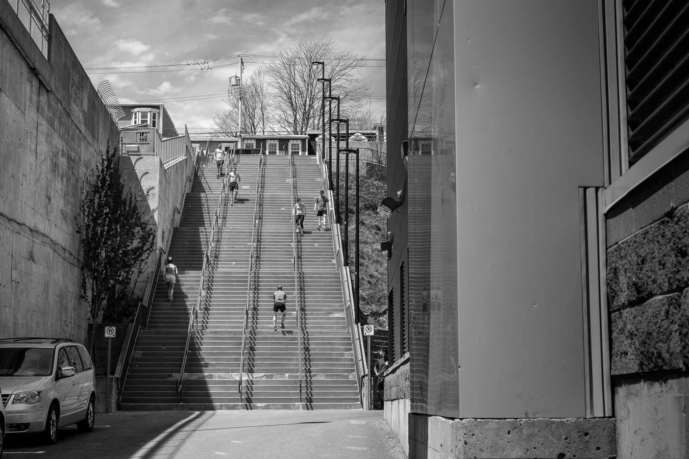 Working out on the steps - Mile One stadium - Between New Gower & Central Streets