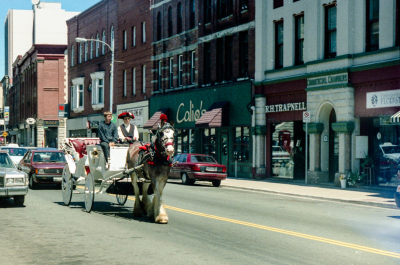 A Handsome Cab slows traffic in front of Calios - waterstreet - 1998