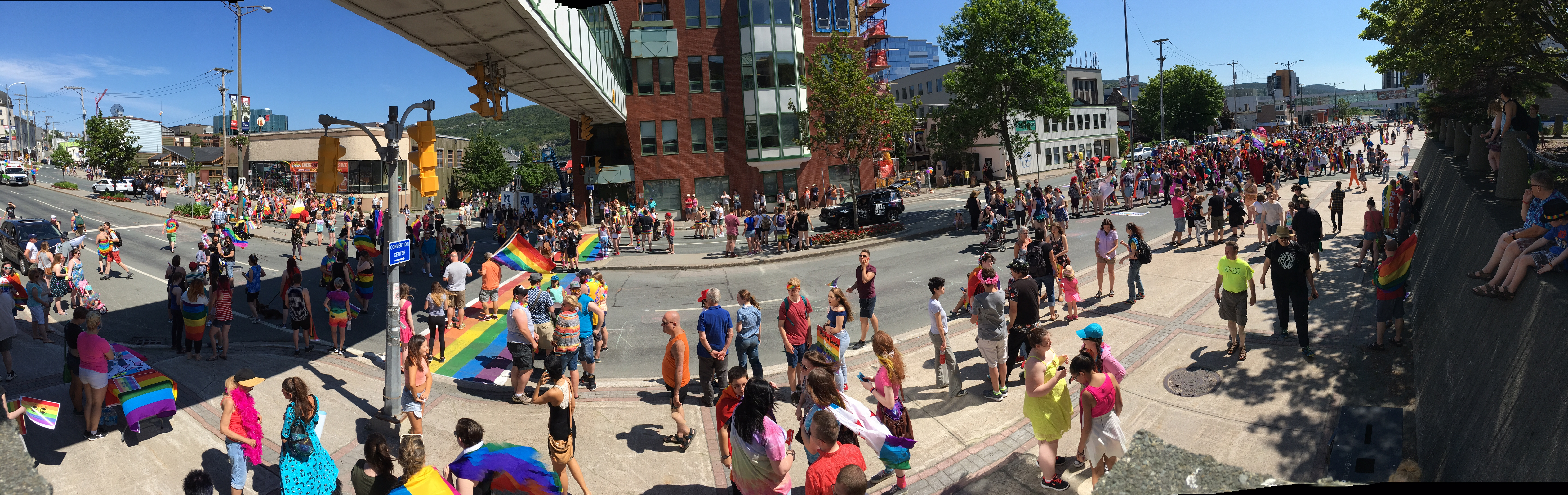 Everyone gets prepped to pass over the rainbow crosswalk that marks the beginning. - City Hall - New Gower street