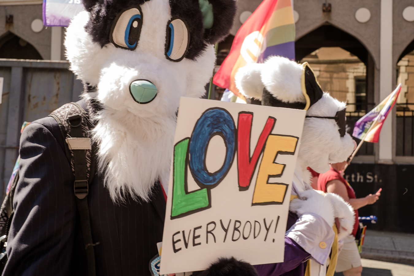 Even the furries came out to show support - Duckworth Street