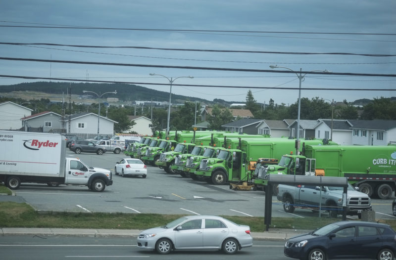A large grouping of Sanitation trucks - Newfoundland Drive