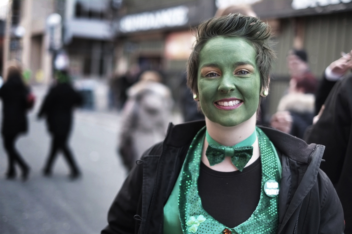 Someone is geared up for a green evening - Happy St. Patricks Day - George Street